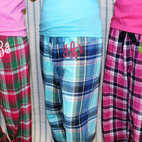 Monogram PJ Pants in Preppy Plaid Flannel - Women & Girls Sizes