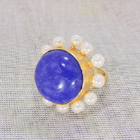 18K Gold Plated Ring - Lapis Lazuli Ring - Handmade Ring - White Pearl Ring - Fashion Ring - Party Wear Ring - Cocktail Ring - Womens Ring