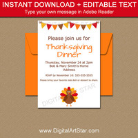 Thanksgiving Invitation Download, PRINTABLE Friendsgiving Invitation Template, Thanksgiving Baby Announcement, Thanksgiving Baby Shower T2