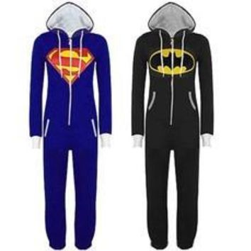 Stunning Unisex Mens And Womens Onesuit Superman & Batman Hooded Zip Front Jumpsuit [7862152583]