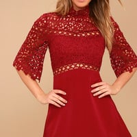 Uplifted Wine Red Lace Mini Dress