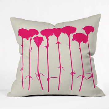 Garima Dhawan Carnations Pink Outdoor Throw Pillow