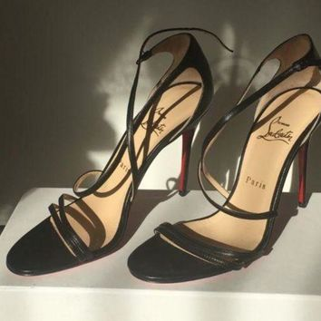 PEAP Christian Louboutin Gwynitta Black Crisscross Red-Sole Sandal Black