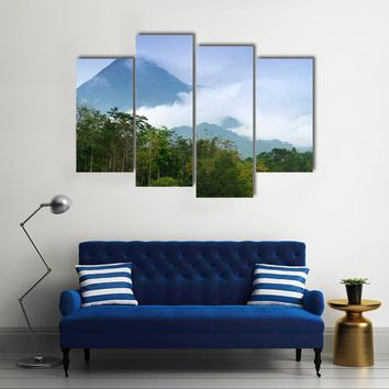 Merapi Mount Emitting Smoke Multi Panel Canvas Wall Art