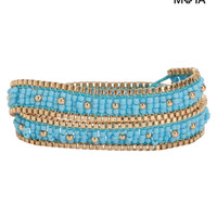 Aeropostale  Womens Beaded Wrap Bracelet - Blue, One