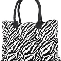 Large Quilted Zebra Print Tote Bag Shoulder Purse (Black Trim)