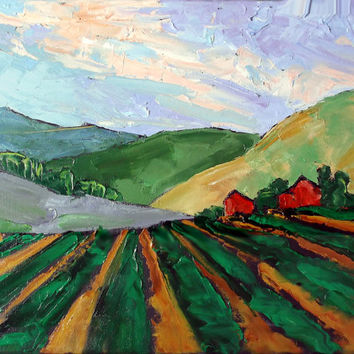 Impressionist Painting California RED BARNS Salinas Farm Fields Plein Air Landscape Lynne French 12x16
