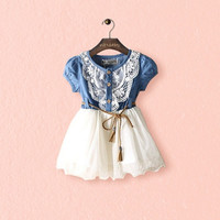 Fashion Babys Girls Tutu Denim Short Sleeve Lace Princess Party Dress = 1929968388