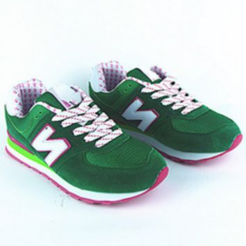 """New balance""Fashionable Women/Men comfortable leisure sports shoes Green"