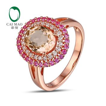 CaiMao 18KT/750 Rose Gold 0.23ct Round Cut Diamond 0.39ct Pink Sapphire 1.82ct Natural Morganite Engagement Ring Jewelry
