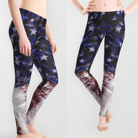 Fourth of July American Flag Printed Leggings for Women XS S M L XL Yoga Workout