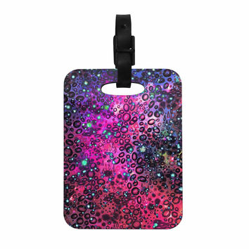 "Ebi Emporium ""Rainbow Dotty Ocean, Purple"" Pink Black Decorative Luggage Tag"