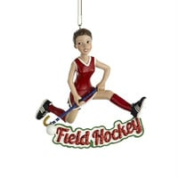 "12 Christmas Ornaments -  "" Field Hockey ""  Girl"