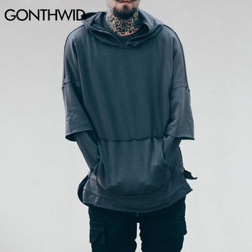 Double Layer Sleeve Solid Color Hoodies Sweatshirts Autumn Men Kangaroo Pocket Pullover Hip Hop Casual Street wear