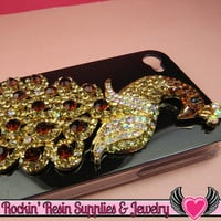 XL Golden Brown Crystal PEACOCK Gold Alloy Bird Cellphone Decoration