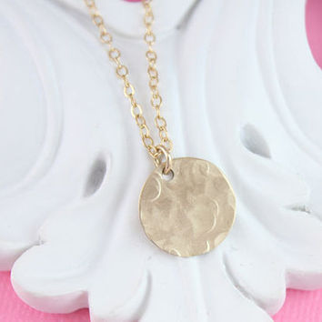 Hammered Gold Filled Round Disc Tag, Dainty, Everyday Jewelry, Delicate Gold Filled Necklace