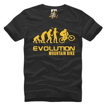 Lets Keep New Evolution Mountain Bike Printed Men's Crew-Neck T-Shirt Top Tees