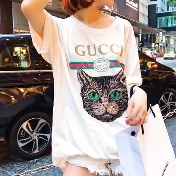 GUCCI Trending Women Loose Embroidery Sequined Cat Short Sleeve Round Collar T-Shirt Shirt Blouse White Pullover Top High Quality