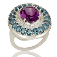 925 Sterling Silver Amethyst And Blue Topaz Cluster Statement Ring