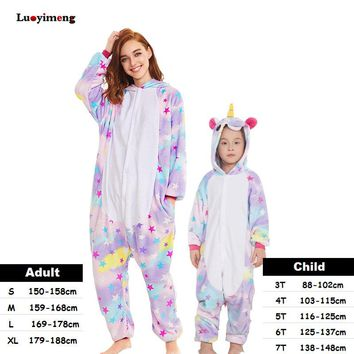 Kigurumi Kids Women Unicorn Pajamas Unisex Couples Onepiece Cartoon Cosplay Costume Animal Onesuit Pyjamas Adult Girls Sleepwear