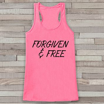 Womens Easter Shirt - Forgiven and Free - Religious Easter Tank Top - Christian Easter Womens Tank - Happy Easter Christ, Jesus, Pink Tank