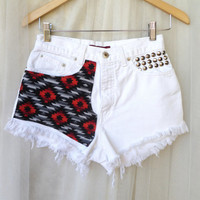 High Waist Studded White Denim Shorts