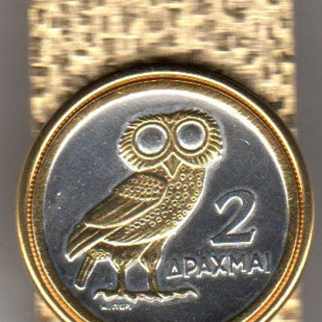 Gorgeous 2-Toned Gold on Silver Greek quarter size Owl,  Coin - Money clips