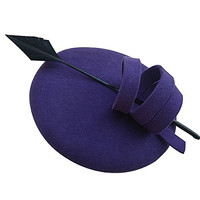 Ladies Curly Feather Felt Wool Fascinator Pillbox Tilt Cocktail Formal Hat A145 (Dark Purple)
