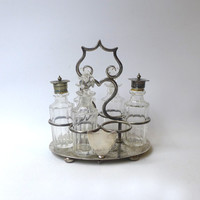Antique late Victorian silver plate and crystal cruet condiment set
