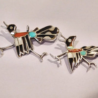 Zuni Roadrunner Bird Inlay Sterling Scatter Pin Pendant Native American Vintage Inlaid Turquoise Coral Mother Pearl Shell Onyx Merle Edaakie