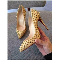 Women Fashion Rivet Shallow Mouth Pointed-toe Heels Shoes
