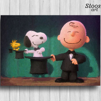 Snoopy and Charlie Brown art print nursery watercolor kids gifts