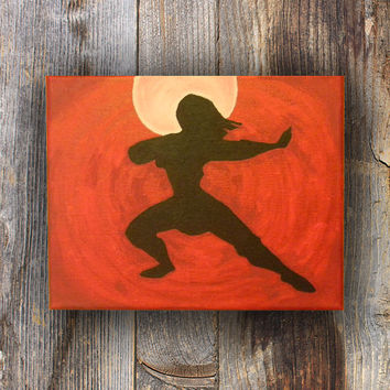 Karate, Karate Painting, Girl Silhouette, Fight Stance, Silhouette, Silhouette Painting in Red Moonlight