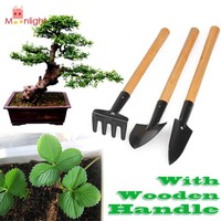 BEST 3PCS Mini Garden Shovel Set Plant Tool Set with Wooden Handle Gardening Tool Shovel Rake