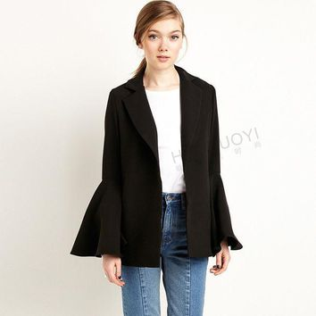 PEAPGB2 [TWOTWINSTYLE] 2016 autumn new long flare sleeves women blazers and jackets plus size clothing black coat feminino fashion