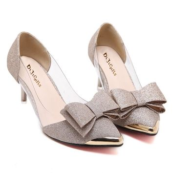 pumps Sequins butterfly Knot dress Low-heeled women high heels Pointed toe bridal wedding transparent high heels