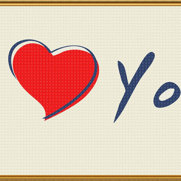 Contemporary Heart I Love You Sew So Simple ™ Counted Cross Stitch or Counted Needlepoint Pattern