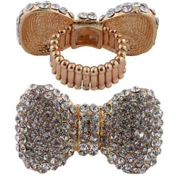 Gold with Clear Iced Out 3D Bow Stretch Finger Ring One Size Fits All
