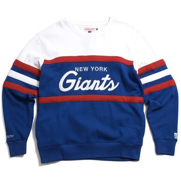 New York Giants Head Coach Crewneck Sweatshirt Blue / White