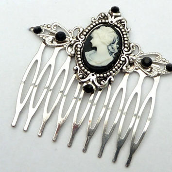 Lovely small hair comb in black silver with cameo antique hair jewelry LARP medieval rhinestone festive hair accessoires
