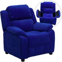 Kids, Children, Toddlers Upholstered Leather, Fabric Recliner Chair with Storage Arms
