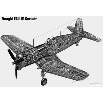 Corsair Airplane Cutaway poster Metal Sign Wall Art 8in x 12in Black and White