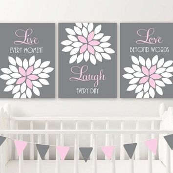 Live Laugh Love Wall Art Canvas or Print Pink Gray Nursery Wall Decor, Flower Bedroom Quote Wall Art, Pink Bathroom Quote Decor Set of 3