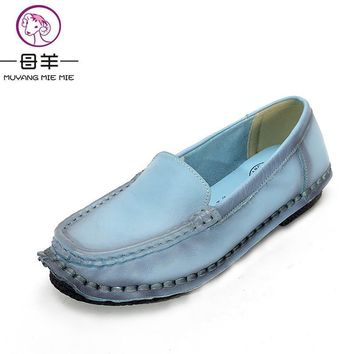 2017 New Fahion Spring And Autumn Handmade Women Shoes Woman Loafers Genuine Leather S