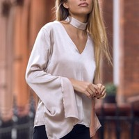 BABYMILK ALMOND BELL SLEEVE TOP WITH CHOKER - New In HOT!MESS Fashion UK