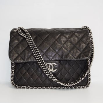 Chanel Black Chain Around Maxi Bag