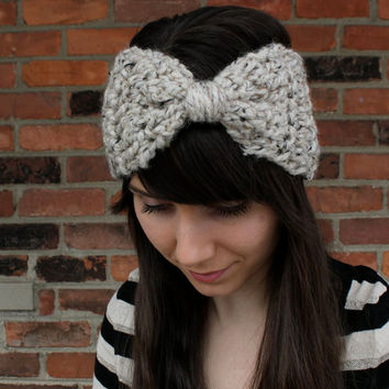 HEADBAND - EAR WARMERS -  Crochet Headband Earwarmer in Oatmeal Beige - Hair Accessories Headband - Big Hair Bows Headband - Winter Fashion