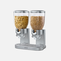 Classic Double Dry Food Dispenser – Silver & Chrome