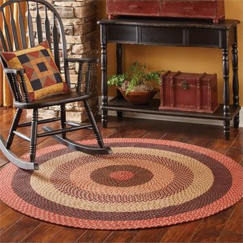 Classic Primitive Round 100 % Cotton Lancaster Braided Rug 60""