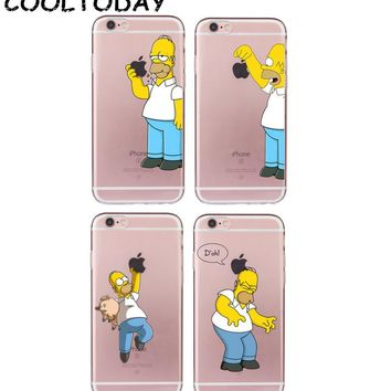 1PC Homer Simpson Case for iPhone 4 4S 5 5S SE 6 6S Plus 7 8 Plus Funny Fundas Soft TPU Silicone Transparent Coque